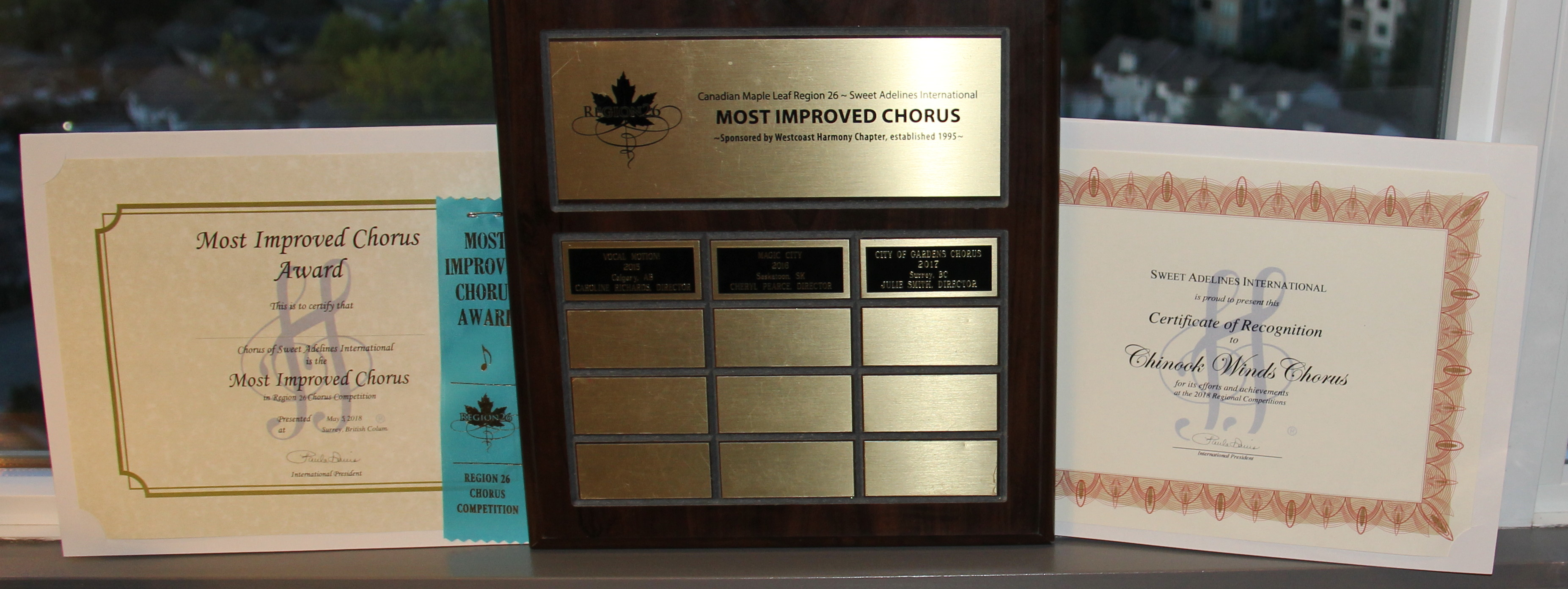 Region 26 Most Improved Chorus 2018 - That's Us!